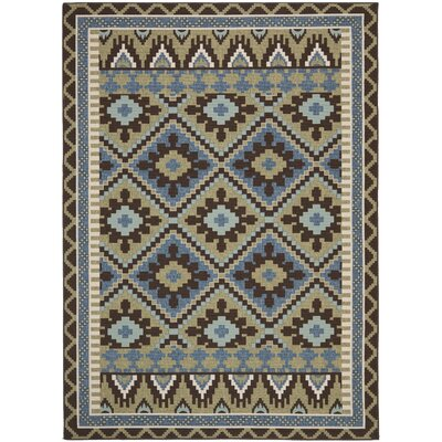 Rangely Green/Chocolate Indoor/Outdoor Area Rug Rug Size: Rectangle 67 x 96