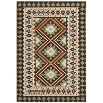Rangely Chocolate / Terracotta Outdoor Rug Rug Size: 53 x 77