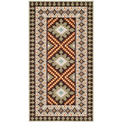 Rangely Chocolate / Terracotta Outdoor Rug Rug Size: Rectangle 67 x 96