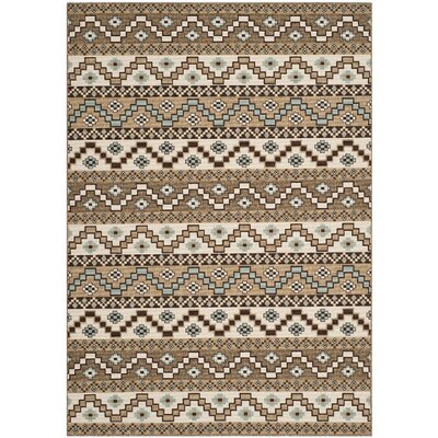 Rangely Creme / Brown Outdoor Rug Rug Size: 53 x 77