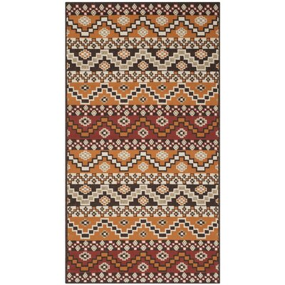 Rangely Red / Chocolate Outdoor Rug Rug Size: 27 x 5