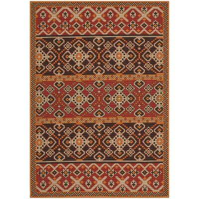 Rangely Red & Chocolate Outdoor Rug Rug Size: 67 x 96