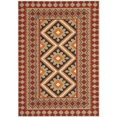 Rangely Red & Natural Outdoor/Indoor Area Rug Rug Size: 53 x 77