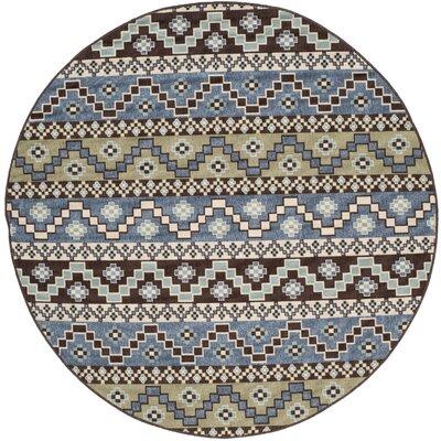 Rangely Blue / Creme Outdoor Southwestern Rug Rug Size: Round 67