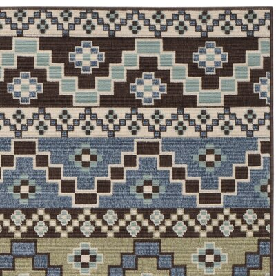 Rangely Blue / Creme Outdoor Southwestern Rug Rug Size: Rectangle 8 x 112