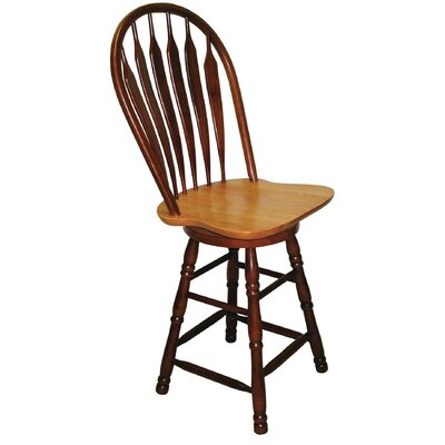 Banksville 30 Swivel Bar Stool Finish: Nutmeg Light Oak