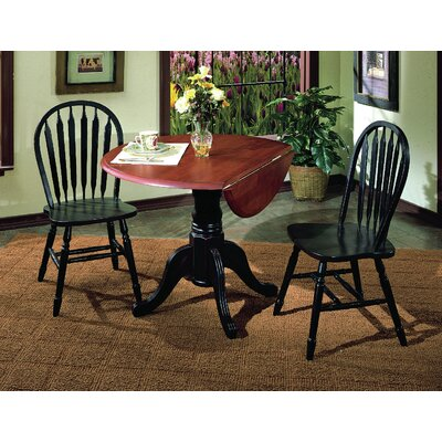 Banksville 3 Piece Dining Set Table Finish: Antique Black with Cherry, Chair Finish: Antique Black with Cherry