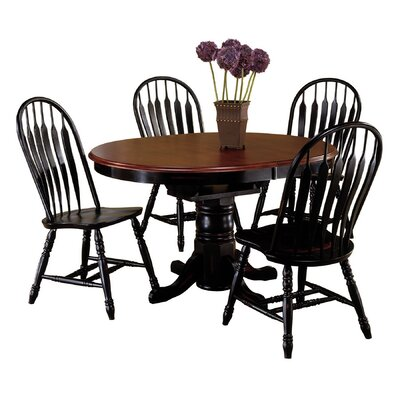 Banksville 5 Piece Dining Set Finish: Antique Black with Cherry / Antique Black