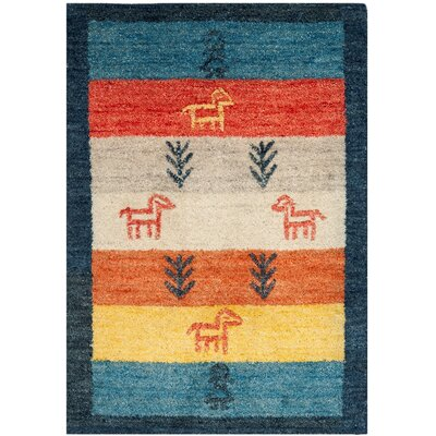 Cezanne Hand-Loomed Rust/Blue Area Rug Rug Size: Rectangle 2 x 3