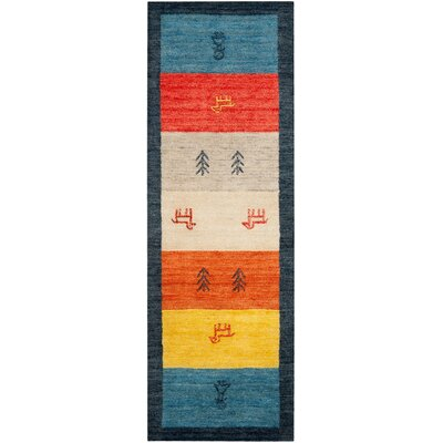 Cezanne Hand-Loomed Rust/Blue Area Rug Rug Size: Runner 23 x 9