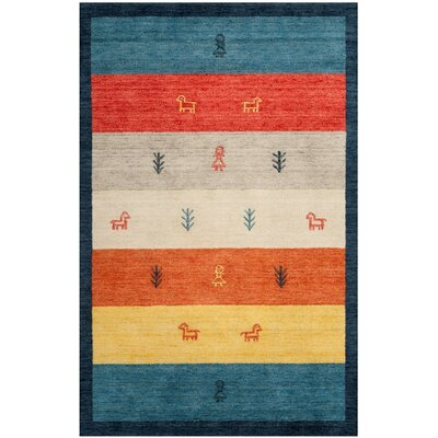 Cezanne Hand-Loomed Rust/Blue Area Rug Rug Size: Rectangle 5 x 8