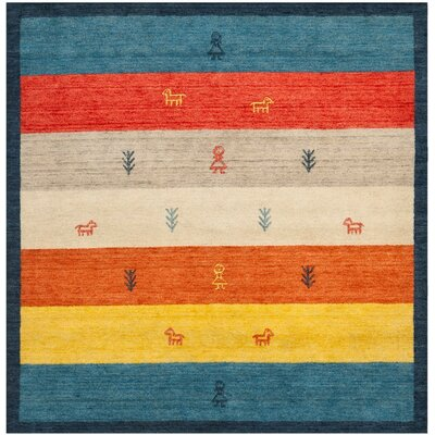 Cezanne Hand-Loomed Rust/Blue Area Rug Rug Size: Square 7