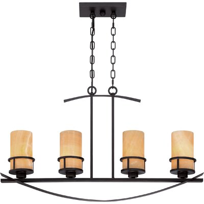 Colby 4-Light Kitchen Island Pendant Finish: Imperial Bronze, Shade Color: Butterscotch Onyx