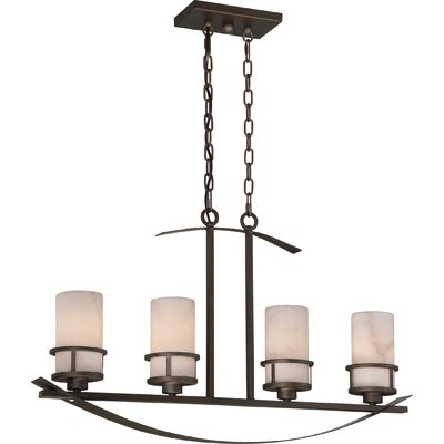 Colby 4-Light Kitchen Island Pendant Finish: Iron, Shade Color: White Onyx