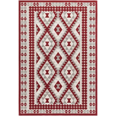 Agosto Dark Red Area Rug Rug size: Rectangle 68 x 98