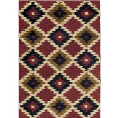 Amur Red/Beige Area Rug Rug Size: Rectangle 53 x 76