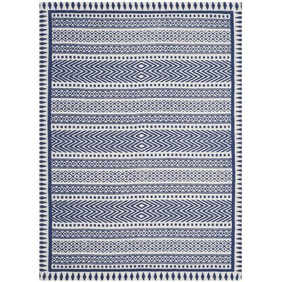 Ampezo Hand-Loomed Blue Area Rug Rug Size: Rectangle 8 x 10