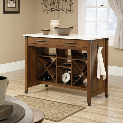 Newdale Kitchen Island with Faux Marble Top