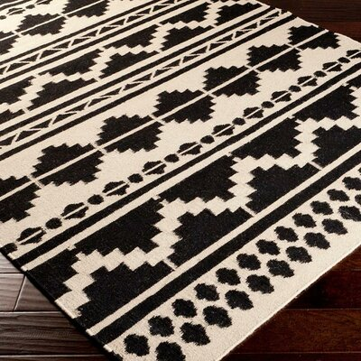 Carrizales Hand-Woven Wool Black/Grey Ikat Area Rug Rug Size: Runner 26 x 8