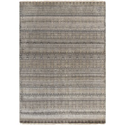 Banyon Hand Knotted Taupe/Dark Brown Area Rug