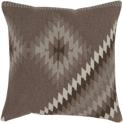 Westall 100% Wool Throw Pillow Cover Color: BrownGray, Size: 22 H x 22 W x 0.25 D