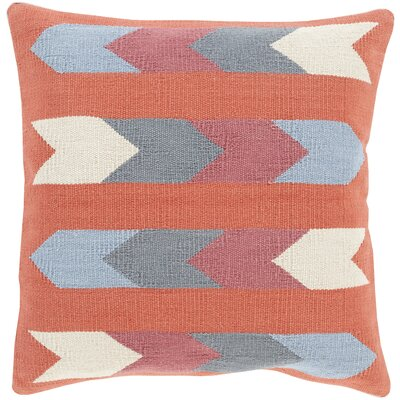 Westall 100% Cotton Throw Pillow Cover Color: OrangeRed, Size: 22 H x 22 W x 0.25 D