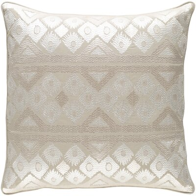 Cedro Cotton Throw Pillow Size: 22 H x 22 W x 4 x D, Color: Khaki/Cream