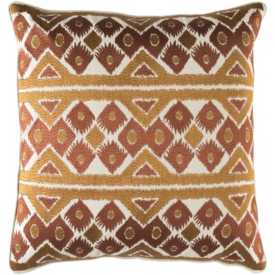 Cedro Cotton Throw Pillow Size: 22 H x 22 W x 4 x D, Color: Khaki/Burnt Orange