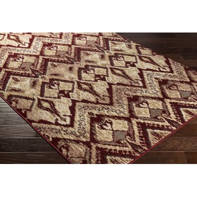 Berkeley Beige/Red Area Rug Rug Size: Rectangle 53 x 76