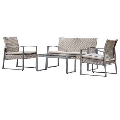 Beltzhoover 4 Piece Lounge Seating Group with Cushion