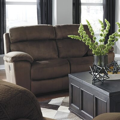 Bayat Power Adjustable Headrest Reclining Loveseat Upholstery: Chocolate