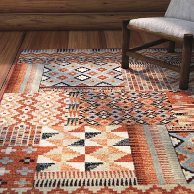 Alden Red/Sand Area Rug Rug Size: Runner 2'7
