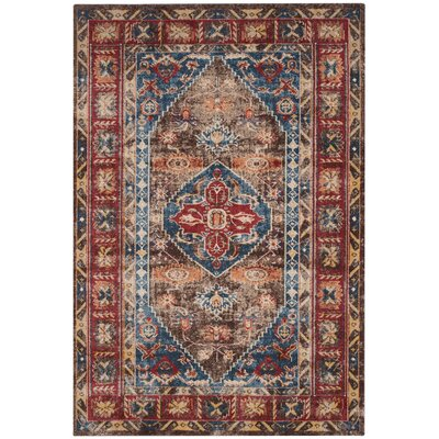 Isanotski Brown/Royal Area Rug Rug Size: 53 x 76