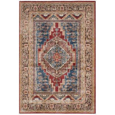 Isanotski Royal/Brown Area Rug Rug Size: Rectangle 53 x 76