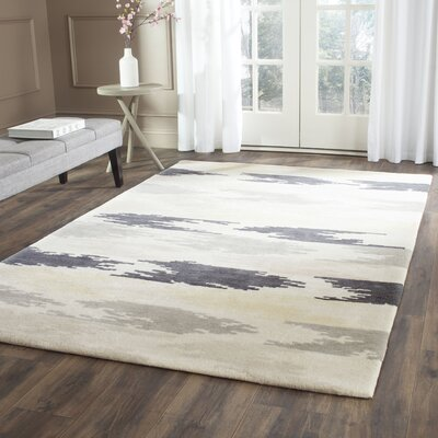 Hand-Tufted Ivory/Gray Area Rug Rug Size: Square 6