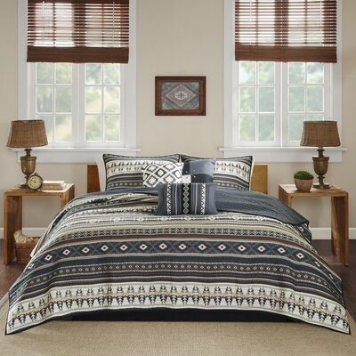 Hale 6 Piece Coverlet Set Size: King/California King, Color: Black