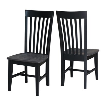 Bezons Solid Wood Dining Chair Color: Coal Black/Washed Black