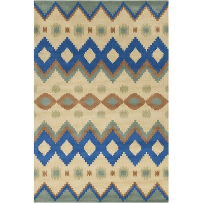 Chatou Hand Tufted Wool Yellow/navy Blue Area Rug
