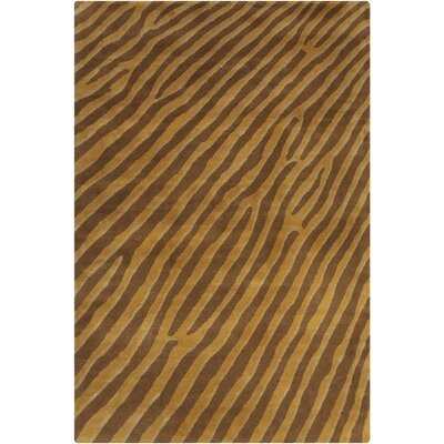 Chatou Hand Tufted Wool Gold/Brown Area Rug Rug Size: 5 x 76