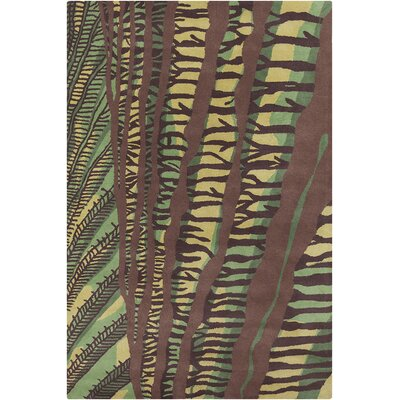 Chatou Hand Tufted Wool Green/Brown Area Rug Rug Size: 5 x 76