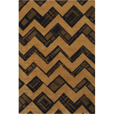 Chatou Hand Tufted Wool Brown/Yellow Area Rug Rug Size: 5 x 76