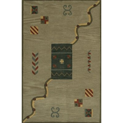 Erzin Green/Brown Area Rug Rug Size: 79 x 106