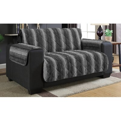 Luxury Box Cushion Loveseat Slipcover Color: Dark Gray