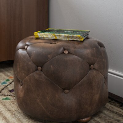 Canard Leather Ottoman Size: Small