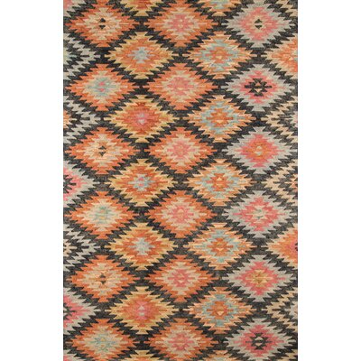 Sunnyvale Hand-Tufted Black/Orange Area Rug Rug Size: 76 x 96
