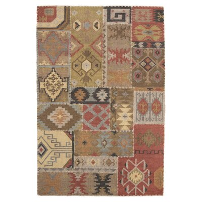 Bell Gardens Hand-Woven Beige/Red Area Rug Rug Size: 5 x 8