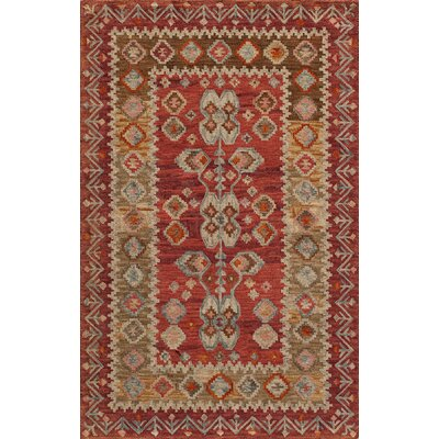 Azure Hand-Tufted Red Rug Rug Size: 76 x 96