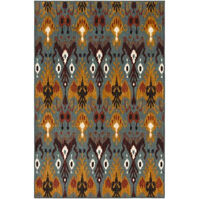 Coso Aqua/Orange Area Rug Rug Size: 5 x 8