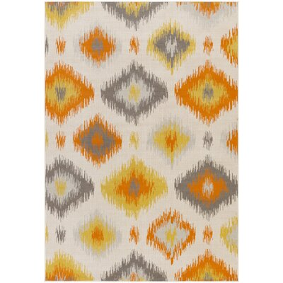 Agosto Orange/Gray Area Rug Rug Size: 69 x 98