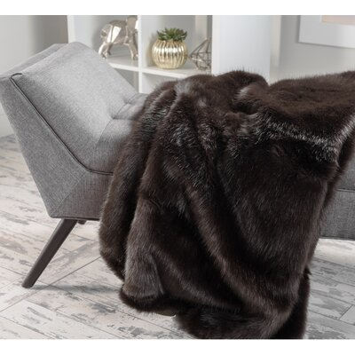 Ballys Faux Fur Throw Blanket Color: Shadow